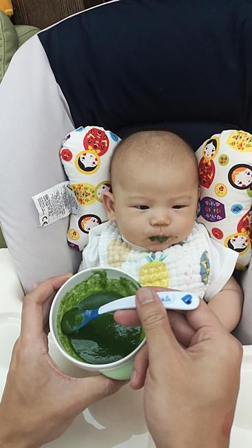 【5m寶寶副食品】空心菜泥,空心菜米糊,含豐富膳食纖維,幫助排便 @小環妞 幸福足跡